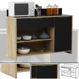 k chenschrank 223 eiche schwarz schrank k chenregal k chenm bel singlek che holz ebay. Black Bedroom Furniture Sets. Home Design Ideas