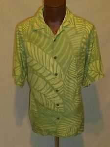6b23526b6170 TOMMY BAHAMA Sage GREEN SILK Tropical Button Down Camp Shirt - MENS ...