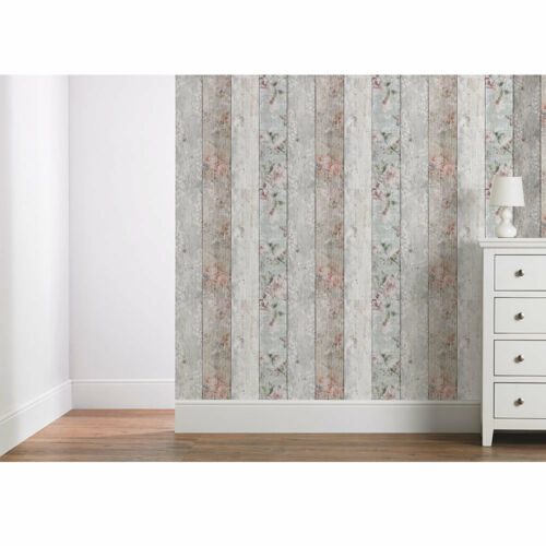Wood Plank Unique Panel Wallpaper Floral Vintage Country White Pink Grey SAMPLE