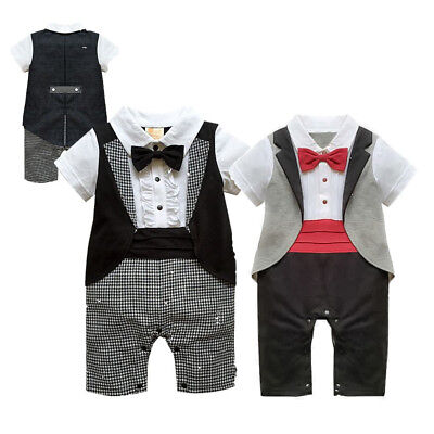 Baby Boy Bow Tie Suit Formal Party Christening Wedding Tuxedo Waistcoat