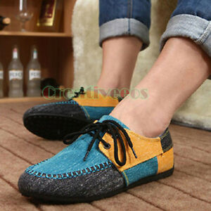 stylish men's canvas lace slip on flats colorful casual