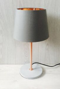 Concrete copper table lamp rose gold cement grey desk light image is loading concrete copper table lamp rose gold cement grey mozeypictures Gallery