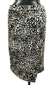 BAR III SKIRTS SIDE ZIPPER PRINTED ENVELOPE YELLOW  WHITE BLACK SMOKE SIZE M