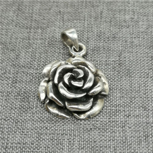 Ruffled Rose Flower Pendant 3D Figural Sterling Silver Necklace