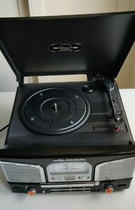 Classic Vinyl Schallplattenspieler Plattenspieler CD RADIO mp3 Player Musik Center (Schwarz)