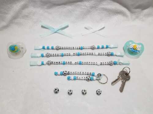 Manchester City Inspiré Dummy Clip Porte-clés football Set bébé cadeau cadeau