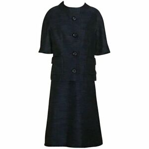 9d8380dbf54e Christian Dior Vintage 1960s Style Blue and Black Jacket Skirt Suit ...