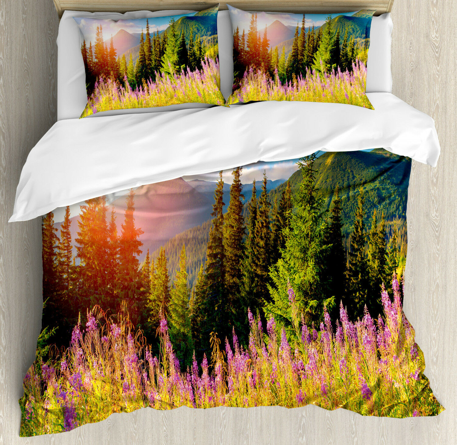 Nature Duvet Cover Set with Pillow Shams Spring Flowers Mountain Print