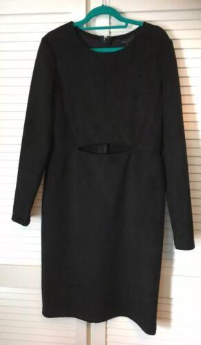 Bcbgmaxazria recorte de manga larga Vestido Negro Talla L Nuevo con etiquetas