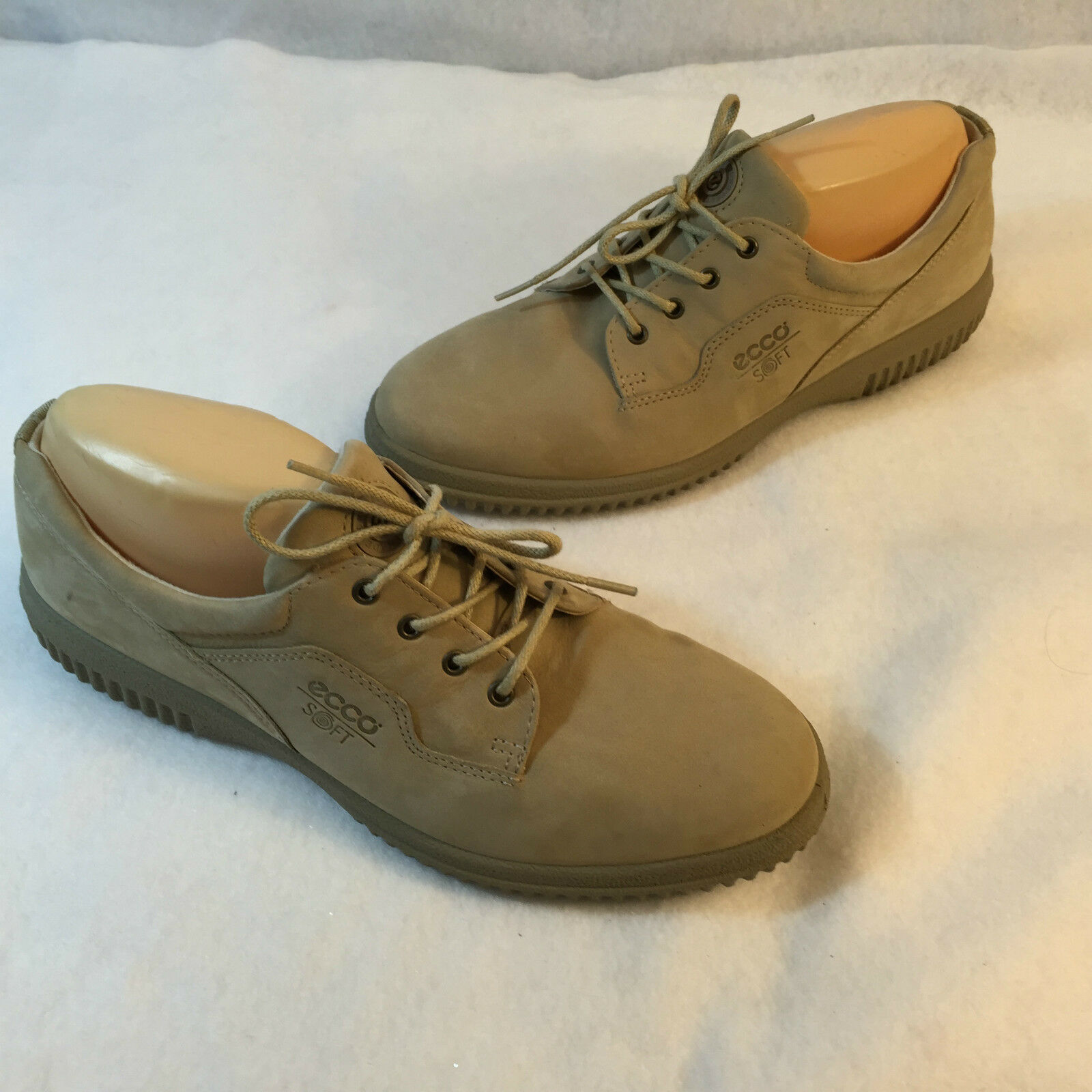 Ecco Soft Lace Up Oxford Casual Schuhe Walking Beige Suede 42 Comfort 42 Suede 11 11.5 M aa8c15