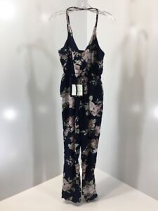 classic chic attractivefashion special buy Details about ZAFUL WOMEN'S CRIS CROSS STRAP FLORAL V NECK JUMPSUIT NAVY  MEDIUM NWT
