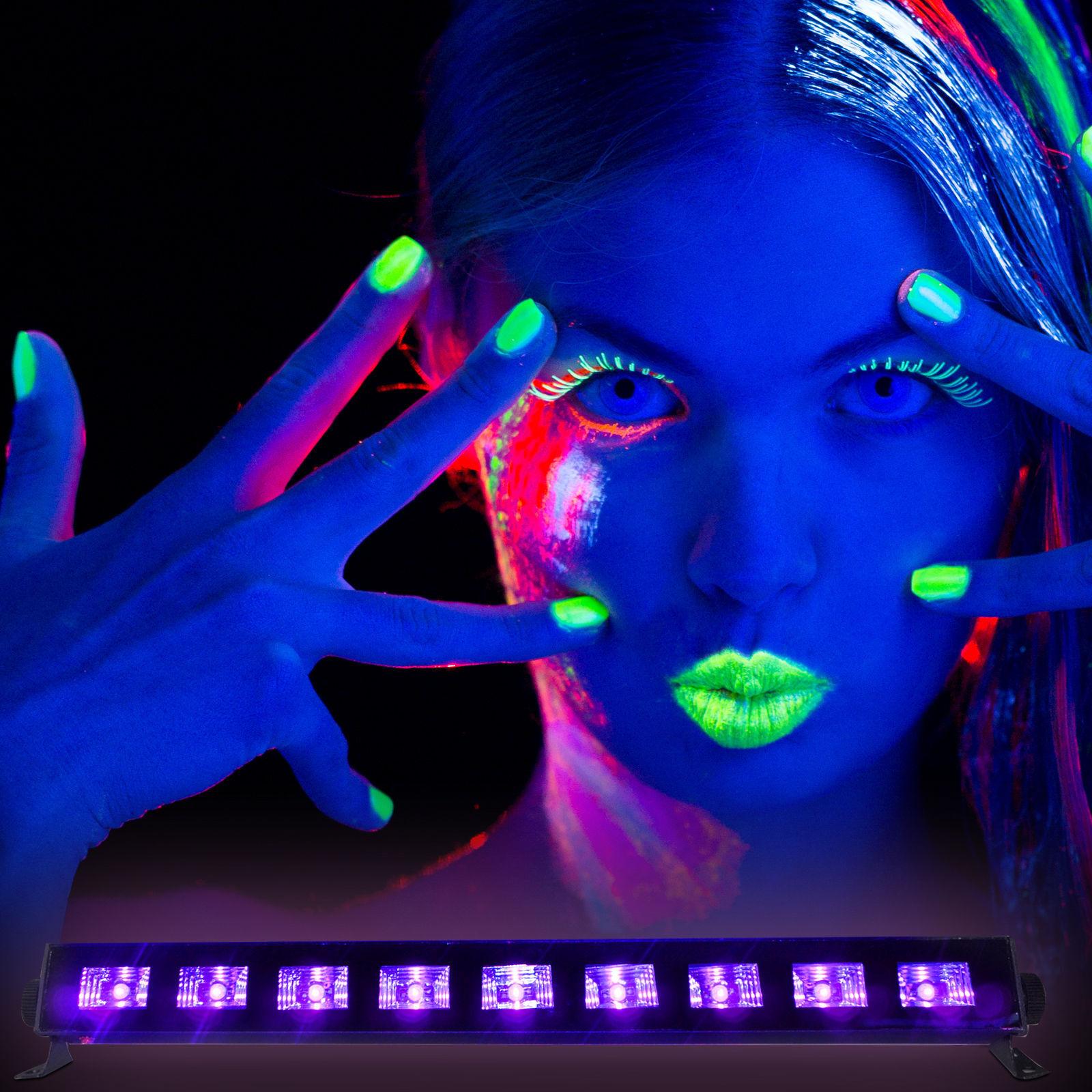 IBIZA Light LED UV-BAR 9x 3 Watt Schwarzlicht-UV LED Leiste mit ...