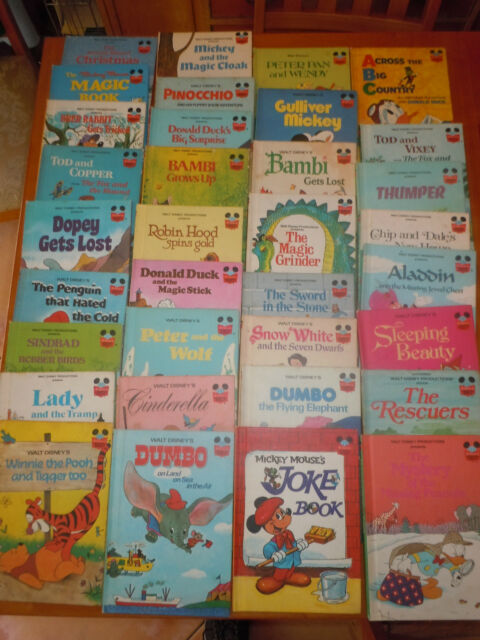 34Bks Disney Wonderful World of Reading Random House Book Club 1970s & 80s EUC