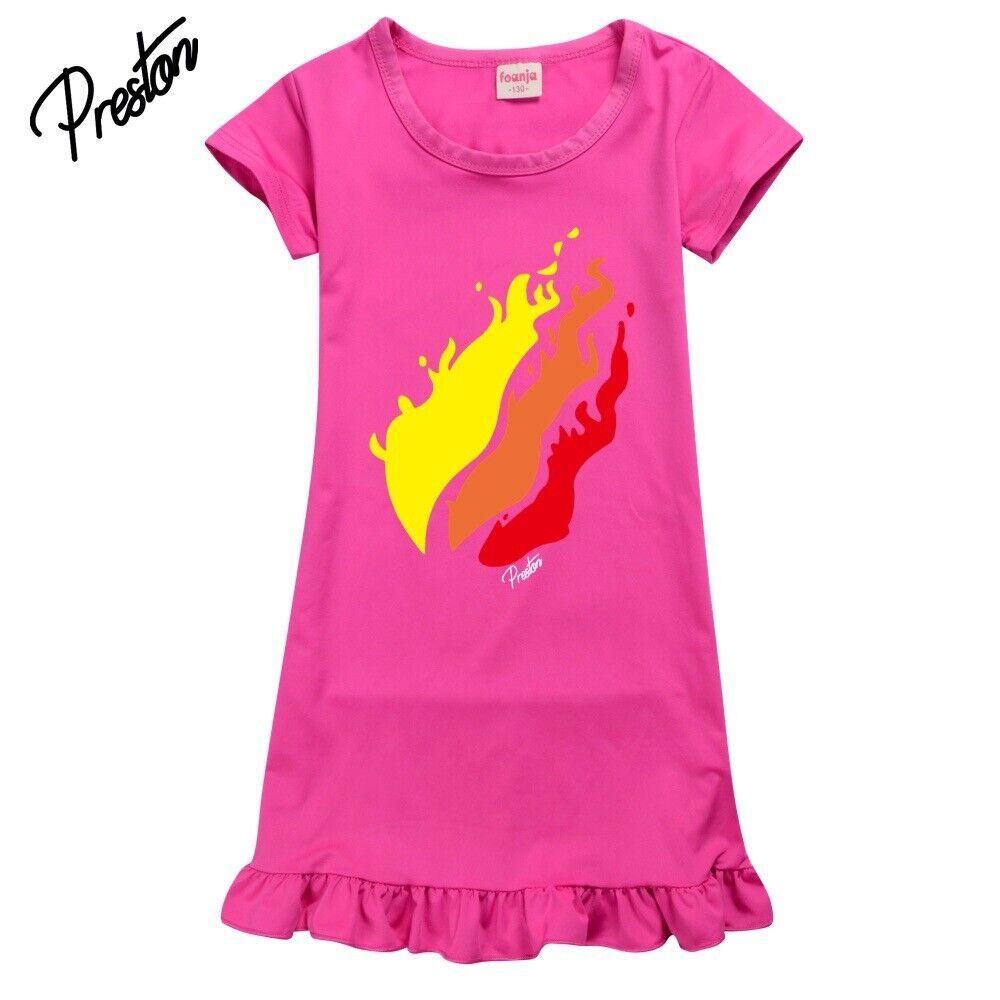 UK Kids Girls Flame Dress Youtuber  Pyjamas Loungewear Skirt Tops