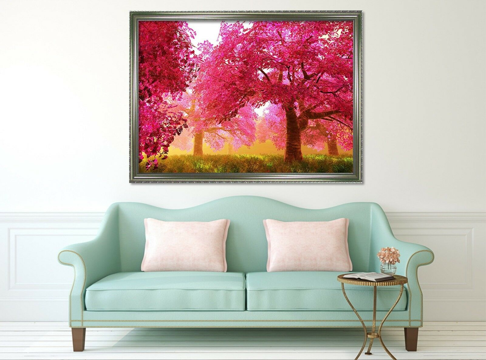 3D rojo Woods Meadow 2 Póster Enmarcado Decoración del Hogar Pintura de Impresión Arte AJ Wallpaper