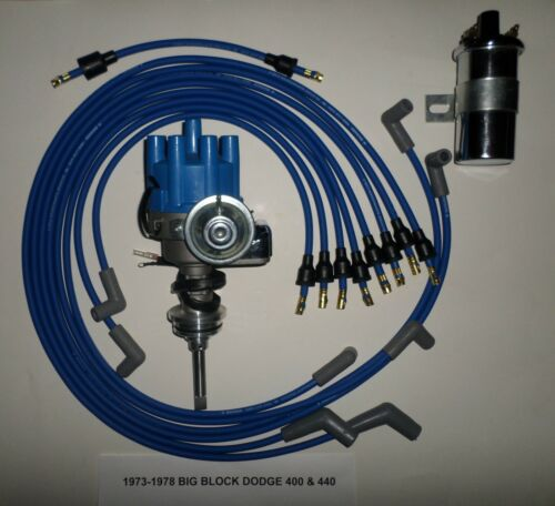 DODGE 440 73-78 BLUE Small Female Cap HEI Distributor 45K Coil+Spark Plug Wires