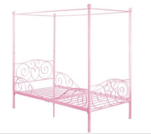 Canopy bed for girls twin metal frame pink princess kids for Little girl twin bed frame
