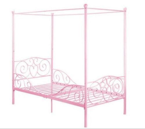 canopy bed for girls twin metal frame pink princess kids teen bedroom furniture ebay. Black Bedroom Furniture Sets. Home Design Ideas