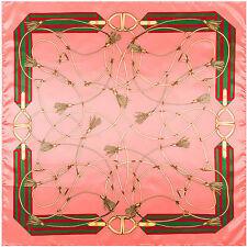 "Women's Fashion Silk-Satin Square Scarf Pink Chain Printed Shawl Hijab 35""x35"""