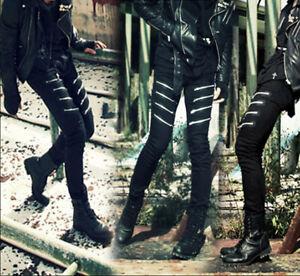 Casual Chic Slim Punk Stretch Hommes Decor Fit Zipper Rock Jeans Jean Pantalons OOPBUq
