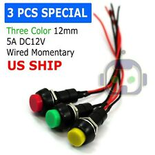 12mm 12v 5amp Mount Push Button Lockless Momentary Onoff Wired Cabled Switch