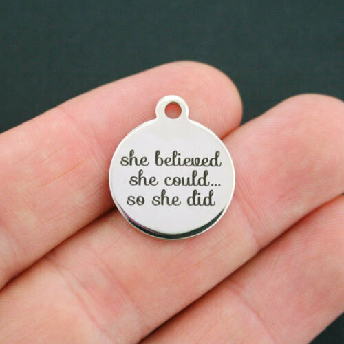 She Believed Stainless Steel Charm BFS654 She Could.. So She Did