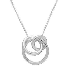 Italian-Made Three Ring Interlocking Pendant in Sterling Silver, 17.75 + 2