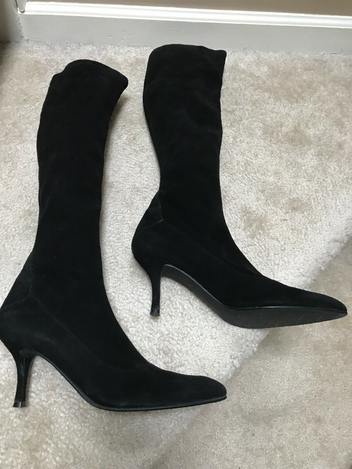 garanzia di credito Stuart Weitzman stivali 10.5 Narrow Narrow Narrow Pre-owned Good Condition nero Microfiber  vendita outlet online