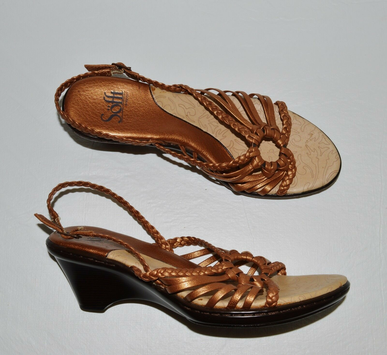 SOFFT 7 WOVEN M LIGHT METALLIC COPPER WOVEN 7 LEATHER SLINGBACK SANDALS 436825
