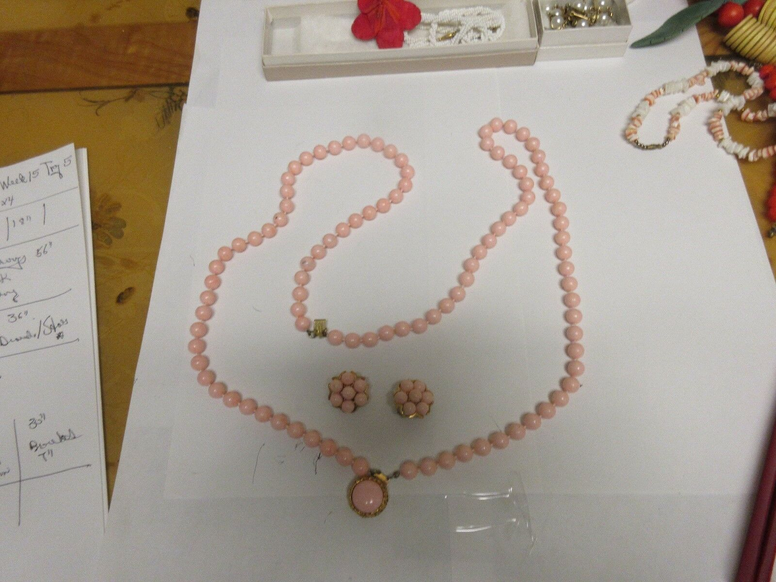 "Costume Jewelry Necklace Lot of 2 , Pink 46"" Earrings ,"