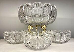 Vintage-Bohemian-Czech-Hand-Cut-Queen-Lace-24-Lead-Crystal-Bowl-Set-4-PCS-EXC