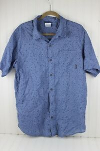 Columbia-Mens-SZ-L-Button-Down-Blue-Print-Camping-Fishing-Cotton-Shirt-Large