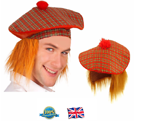SCOTTISH TARTAN HAT WITH GINGER HAIR Stag Night Adult Mens Fancy ... 610db37503e5