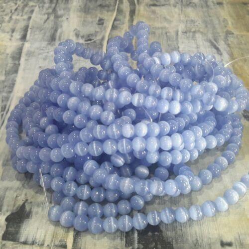 Glass Cat Eye Beads 6mm Approx 66 pce  Free Postage Oz Seller Cornflower Blue