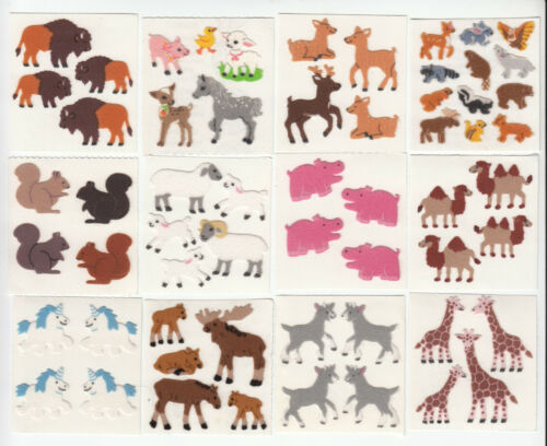 You Choose Vintage Sandylion Fuzzy Hippo Squirrel Unicorn Goat Skunk Stickers