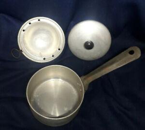 Vintage Individual Single Egg Poacher 3 Pc Aluminium Pan Set