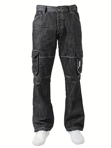 Enzo Hommes Cargo Combat Jeans Décontracté Pantalon Jambe Taille