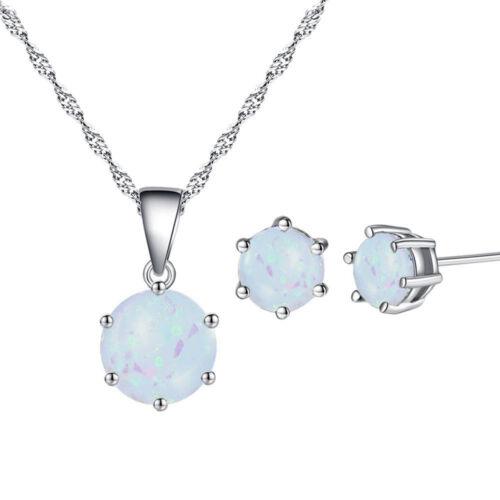 White Fire opal silver collier pendentif boucles d/'oreilles femmes mariage bijoux Set MT28