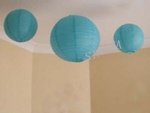 6x 20cm white blue paper lanterns 1st birthday party baby shower decoration