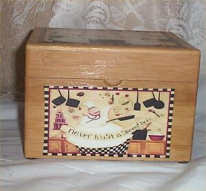 Wood Chef Recipe Box Bamboo Never Trust Skinny Cafe Latte Kitchen