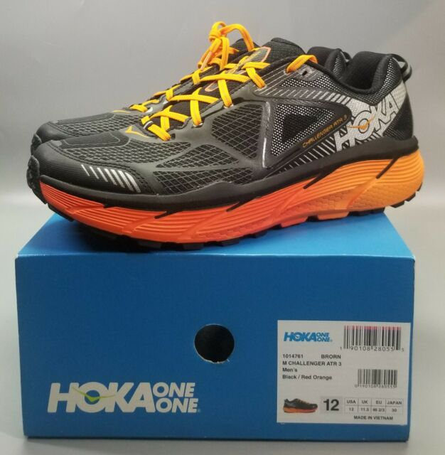 HOKA ONE ONE Men's Challenger ATR 3 Trail Running Shoe,Black/Orange,US 12 M