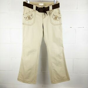 Maurices-Khaki-Pants-Women-Size-3-4-Tan-Belted