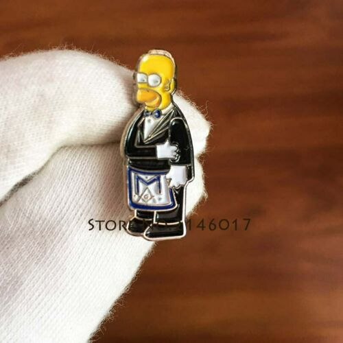 Masonic Apron Lapel Pin Cartoon homer Simpsons Ceremonial mason craft lodge