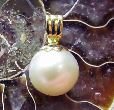 AAA GENUINE WHITE AKOYA SALTWATER PEARL 14k SOLID GOLD PENDANT 7mm