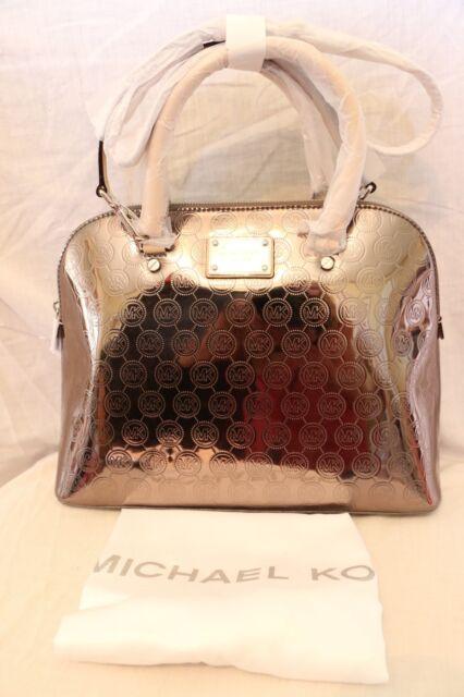 7b36c1f664f5 Michael Kors Cindy Large Metallic Leather Dome Satchel 30s5mcps3z ...