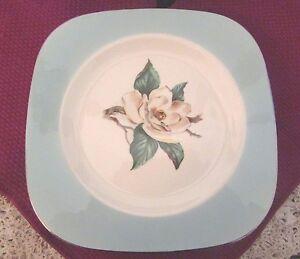 6-Square-Salad-Plates-Lifetime-China-Co-Turquoise-w-Magnolia-7-75-034-RARE-330