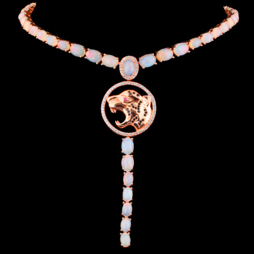 100/% NATURAL 7X5MM PRECIOUS OPAL /& WHITE CZ ROSE GOLD TIGER SILVER 925 NECKLACE