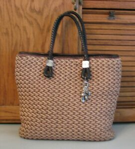 Brighton-Woven-PURSE-Brown-Leather-Accents-Handbag-Tote-Bag-Satchel-Charms
