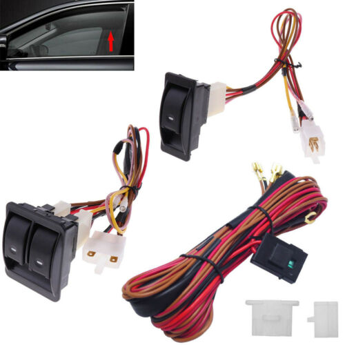 Switch Holder US 12V Universal Power Window Switch Kit Set With Wiring Harness