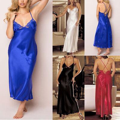 Ladies Womens Satin Long Nightdress Silk Lace Lingerie Nightgown Sleepwear US